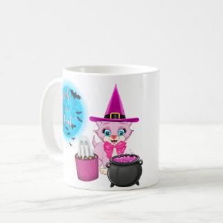 Pink Kitten Halloween Cartoon Coffee Mug