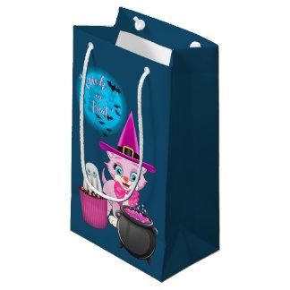 Pink Kitten Halloween Cartoon Small Gift Bag