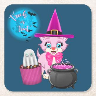 Pink Kitten Halloween Cartoon Square Paper Coaster