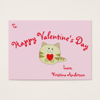 Pink Kitty Love Valentine's Day Business Card Size