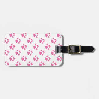 Pink kitty paw print patter luggage tag