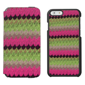 Pink Knit Green Black Wave Crochet Knitted Weave Incipio Watson™ iPhone 6 Wallet Case