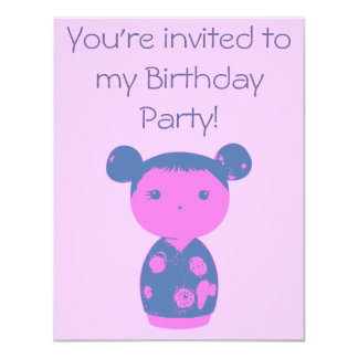 Pink Kokeshi Blue Birthday Party Invitation