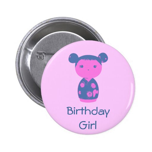 Pink Kokeshi Blue Button