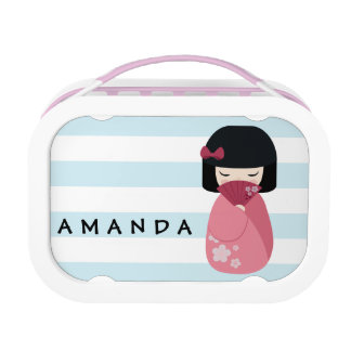 PINK Kokeshi Doll - Cute Japanese Geisha Girl Lunch Box