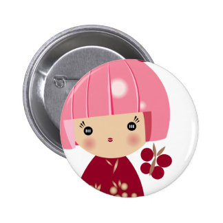 Pink Kokeshi Triplet Close Up Pin
