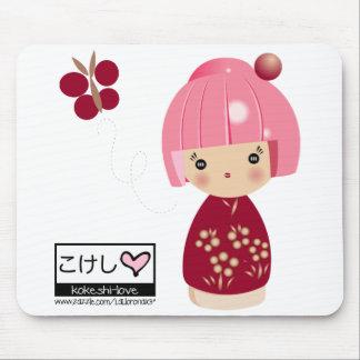 Pink Kokeshi Triplet Mouse Pad