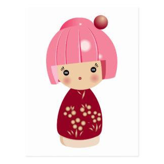 Pink Kokeshi Triplet Postcard