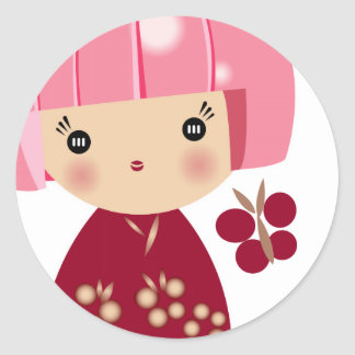 Pink Kokeshi Triplet Sticker
