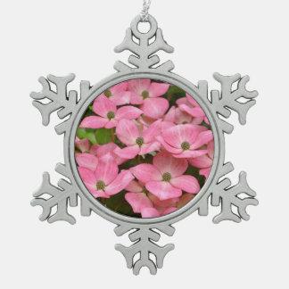 Pink kousa dogwood flowers christmas ornament