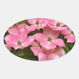 Pink kousa dogwood flowers print oval sticker
