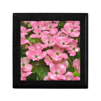 Pink kousa dogwood flowers print small square gift box