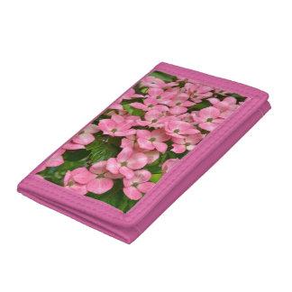 Pink kousa dogwood flowers tri-fold wallets