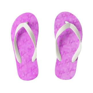 Pink Kylie Name Logos, Pink Mosaic Kid's Thongs