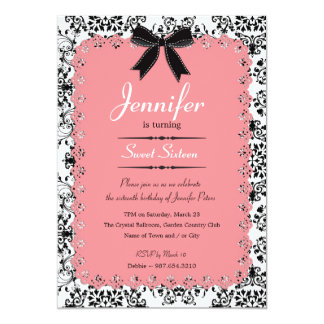 Pink Lace and Black & White Damask Sweet 16 5x7 Custom Invitation