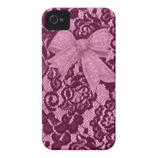 Pink Lace and Bow Pattern. Case-Mate iPhone 4 Case