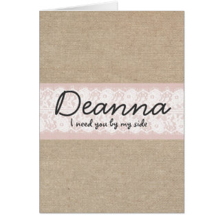 Pink Lace And Burlap Bridesmaid Request Card