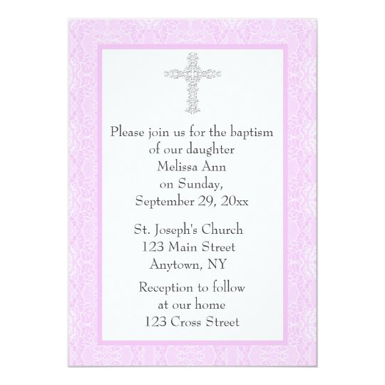 Pink Lace Baptism Christening Card
