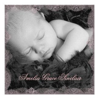 Pink Lace Black Vintage Photo Birth Announcement