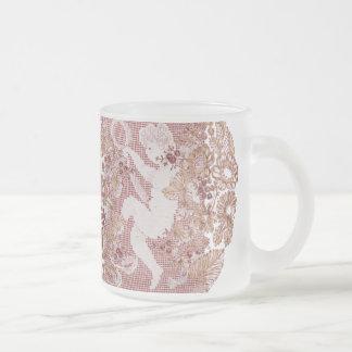 Pink Lace Cherub Frosted Glass Coffee Mug
