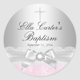 Pink Lace & Cross Baptism Sticker