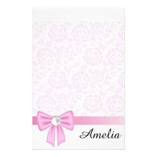 Pink lace,diamond,Pink silk ribbon,white,chic,fun Customized Stationery