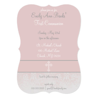 Pink Lace First Holy Communion Invitations