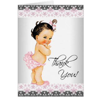 Pink Lace Girl Baby Shower Thank You Card
