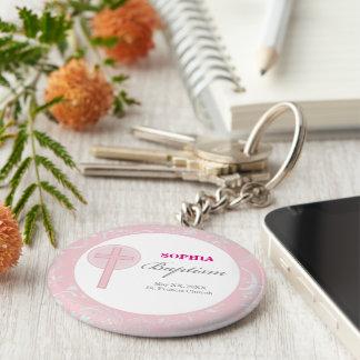 Pink Lace Girl Baptism Key Ring