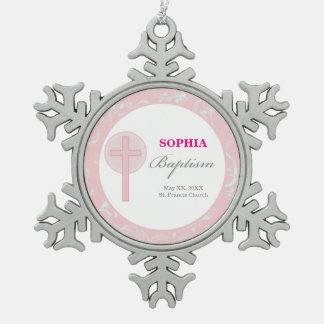 Pink Lace Girl Baptism Snowflake Pewter Christmas Ornament