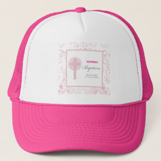 Pink Lace Girl Baptism Trucker Hat