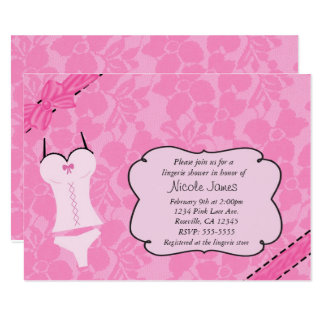 Pink Lace Lingerie Bridal Shower Bachelorette Card
