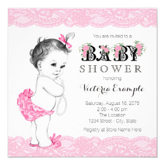 Pink Lace Pearls Pink and Black Baby Shower Card