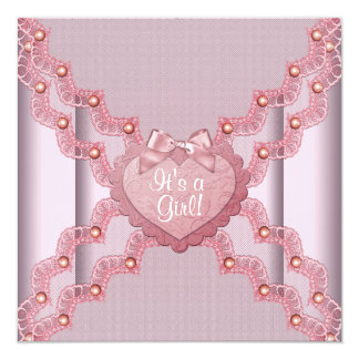 Pink Lace Pink Pearl Heart Pink Baby Girl Shower Card