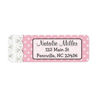 Pink Lace Polka Dot  Return Address Labels