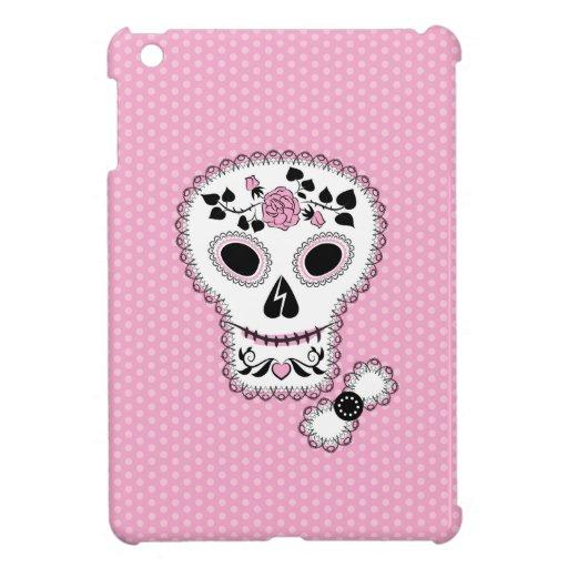 Pink Lace Sugar Skull iPad Mini Covers