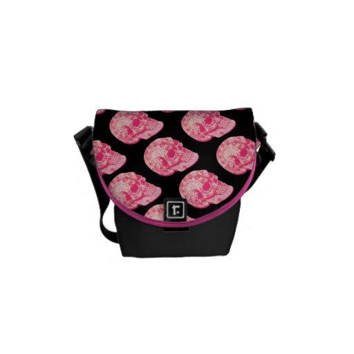 pink lace sugar skulls pattern messenger bag