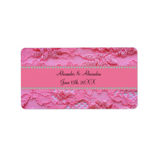 Pink lace wedding favors address label