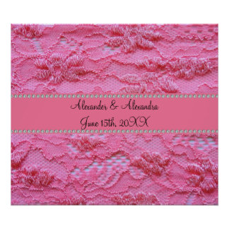 Pink lace wedding favors poster