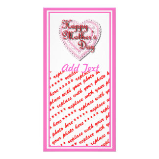 Pink Laced Heart for Mother's Day Photo Cards