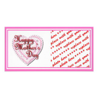 Pink Laced Heart for Mother's Day Photo Greeting Card