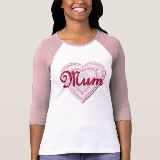 Pink Laced Heart for Mum T-Shirt