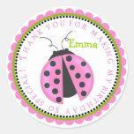 Pink Lady Bug Birthday Stickers