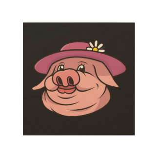 Pink Lady Pig Portrait Wood Print
