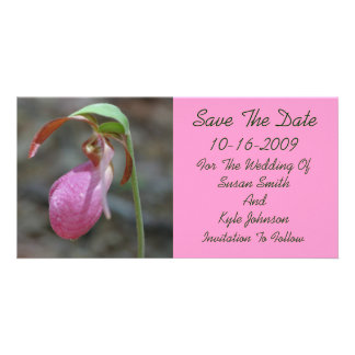 Pink Lady Slipper Floral Wedding Save The Date Picture Card