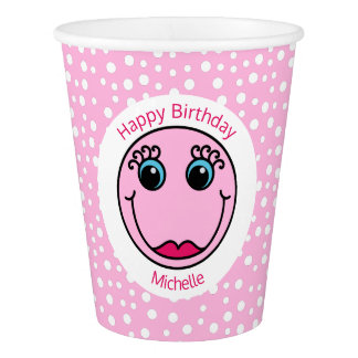 Pink Lady Smiley Face Birthday Party Paper Cup
