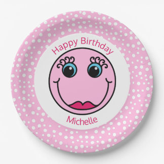 Pink Lady Smiley Face Birthday Party Paper Plate