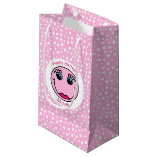 Pink Lady Smiley Face Happy Birthday Small Gift Bag