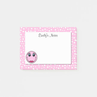 Pink Lady Smiley Face Personalised Post-it® Notes