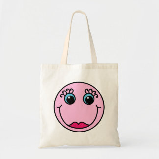 Pink Lady Smiley Face Tote Bag